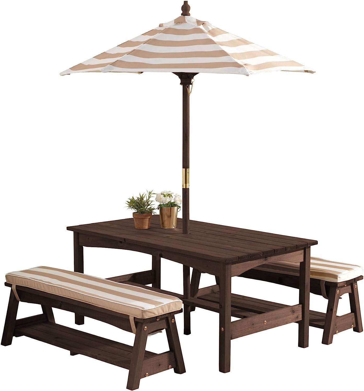 KidKraft 500 Juego de mesa y 2 bancos de madera para niños con sombrilla y cojines, muebles para jardín y exterior al aire libre - Rayas marrones y blancas