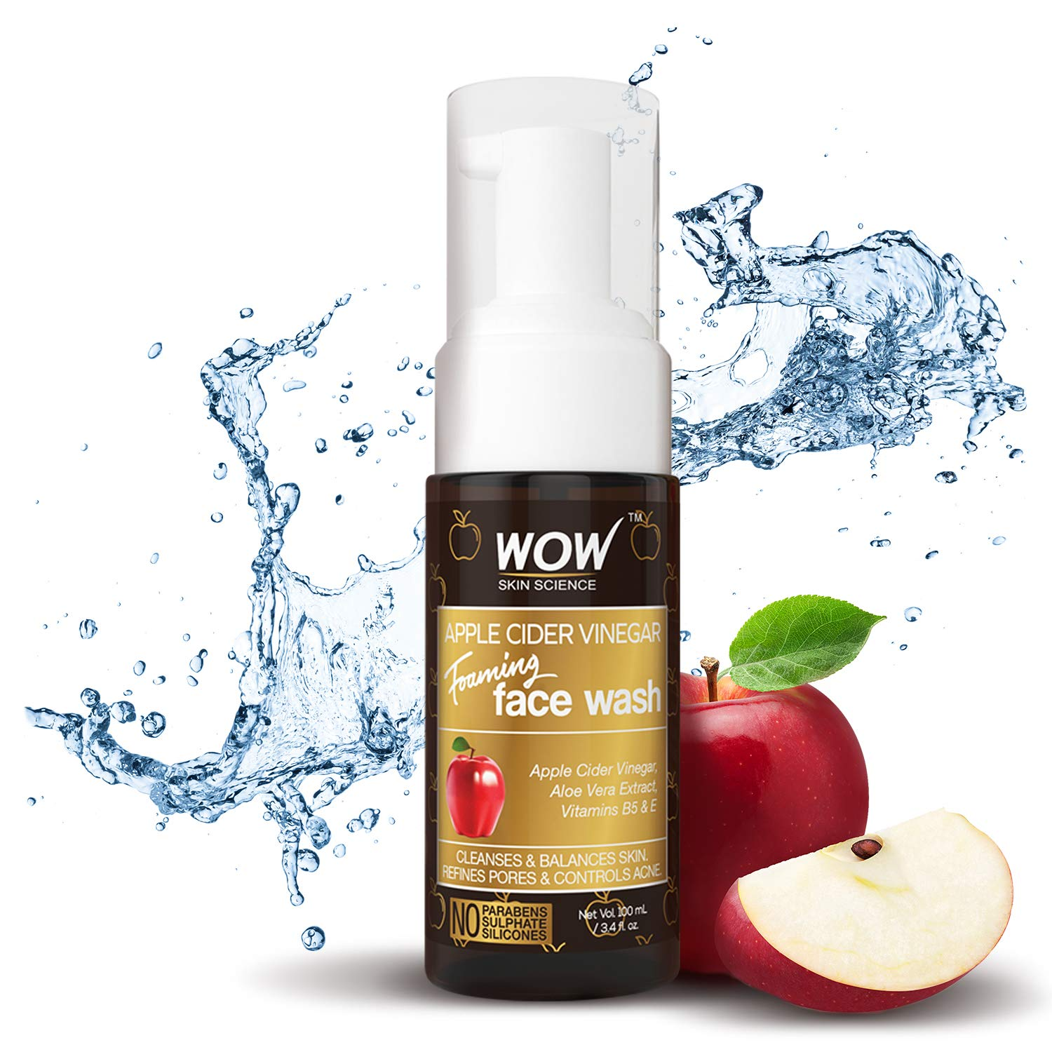 WOW Apple Cider Vinegar Foaming Face Wash Cleanser - Normal, Dry & Oily Skin - Heal, Hydrate For Soft, Clear Skin - Remove Dirt, Oil & Makeup, Reduce Acne Breakouts - Men & Women - All Ages - 100 mL by BUYWOW (Image #5)