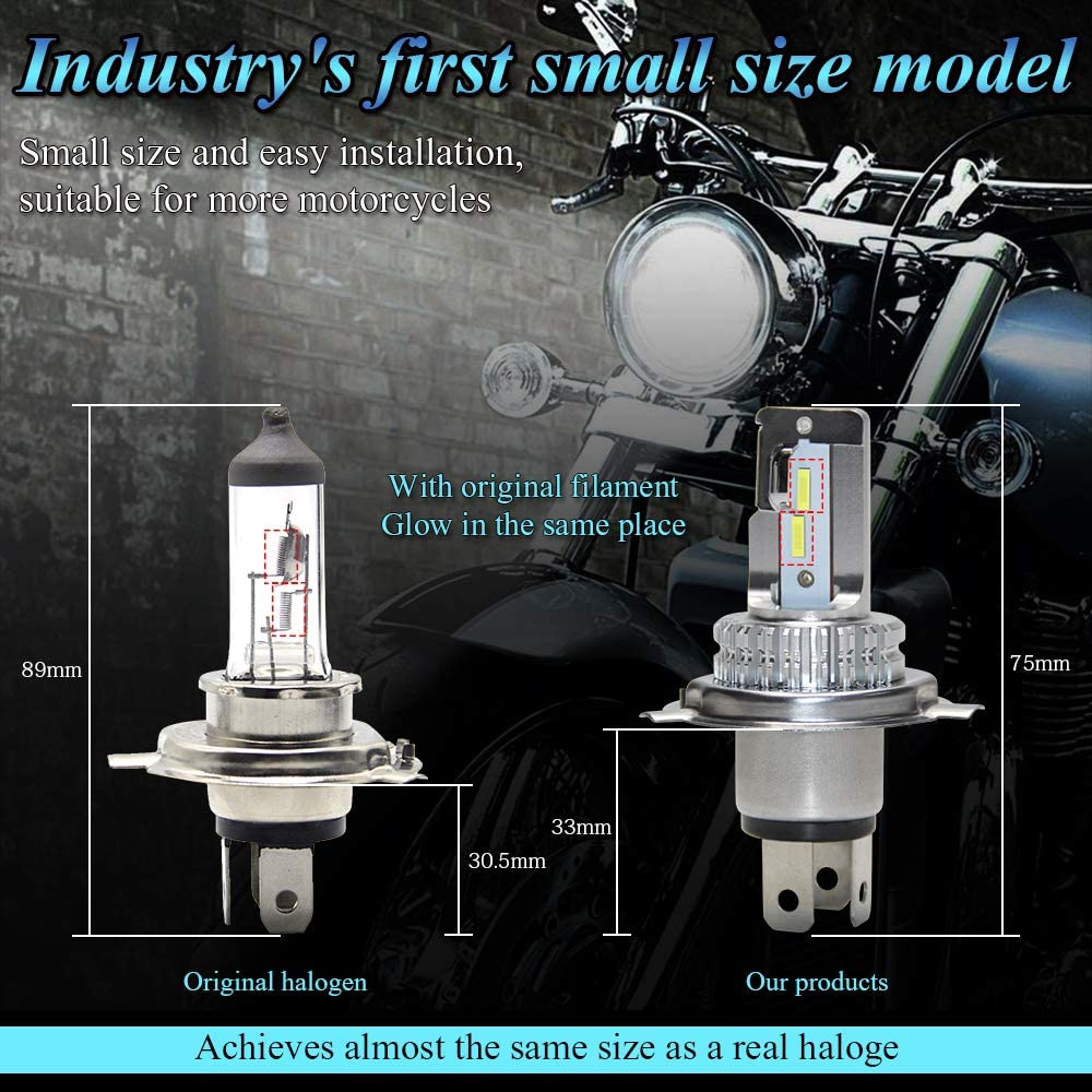 OPPULITE Ampoule H4 LED pour Moto Pack de 1 9003 HB2 HS1 P43t Phare Avant de Moto 3600LM 6500K Blanche Extr/êmement Lumineux Conversion Kit IP67 Etanche Garantie 2ans