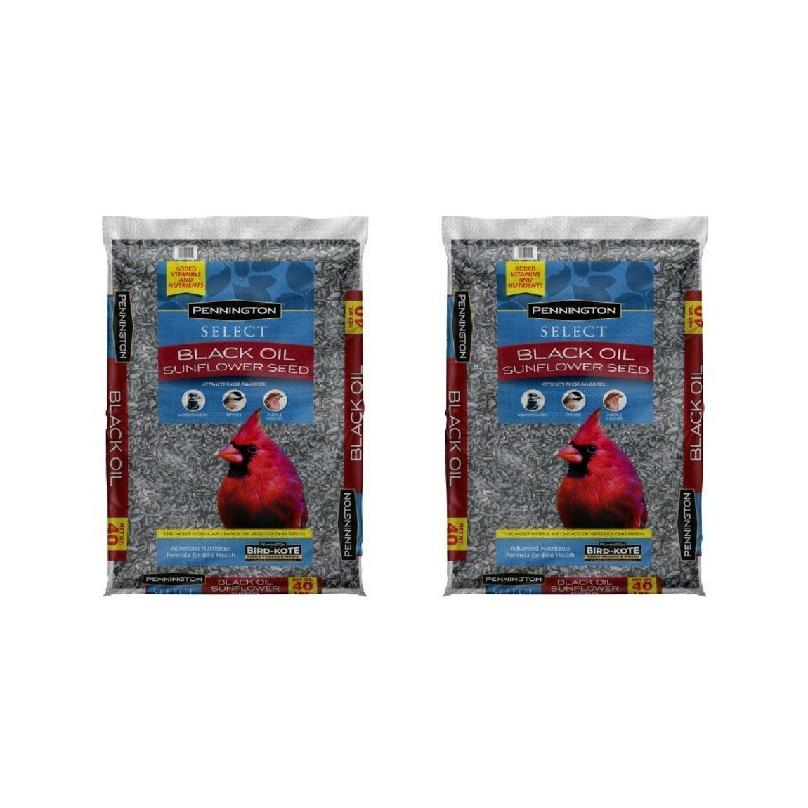 Pennington Select Black Oil Sunflower Seed Wild Bird Feed, 40 lbs - (2 Bags)