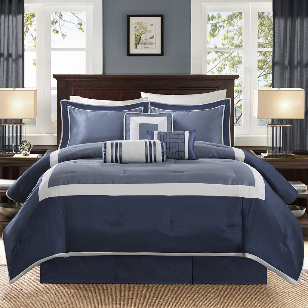 Madison Park Genevieve Queen Size Bag-Navy, 7 Pieces Bedding Sets – Faux Silk Bedroom Comforters