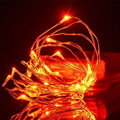 FUNPRT Halloween Decorative Orange Lights, Orange LED Copper String Lights for Halloween Themed Party Decorations Outdoor, 30 LED Bulbs and Battery Operated, 10Feet/3M