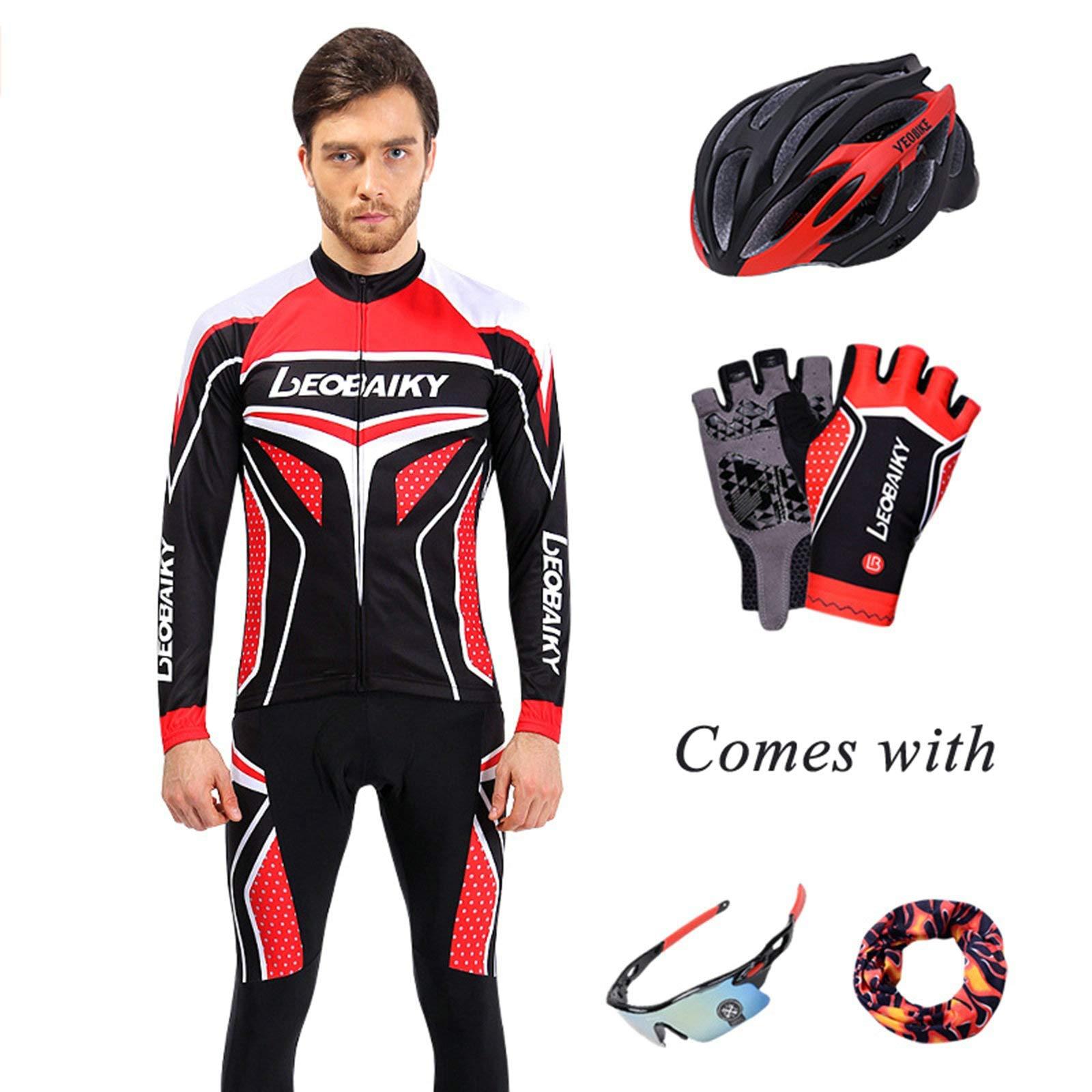 Aooaz Men's Biking Clothing Set Shirt Leggings with Helmet/Gloves/Goggles/Mask Black Red S
