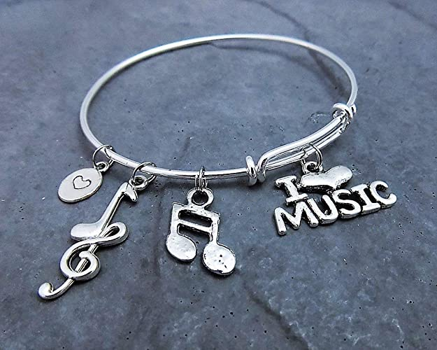 c712615c05023 Music Lover Charm Bracelet Personalized with instrument choice of stainless  steel expandable bangle