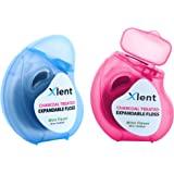 Expandable Floss Treated with Activated Charcoal, Xylitol and Natural Plant Based Wax | Fresh Mint Flavor | 50 meters each(2 Count)