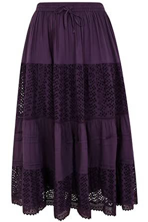 ee0a45ab00677 Yours Women s Plus Size Crinkle Cotton Tiered Maxi Skirt with Broderie  Anglaise Size 34-36