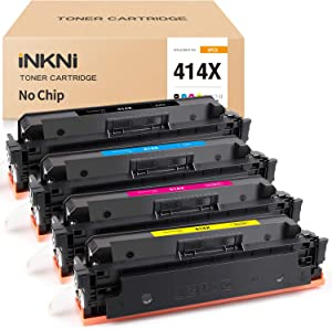 INKNI (No Chip) Compatible Toner Cartridge Replacement for HP 414X W2020X W2021X W2022X W2023X for MFP M479fdw M479fdn M479 Laserjet Pro M454dn M454dw (Black Cyan Magenta Yellow, 4-Pack)