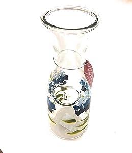 Classic Beverage Carafe Hand Painted Hydrangea 34oz