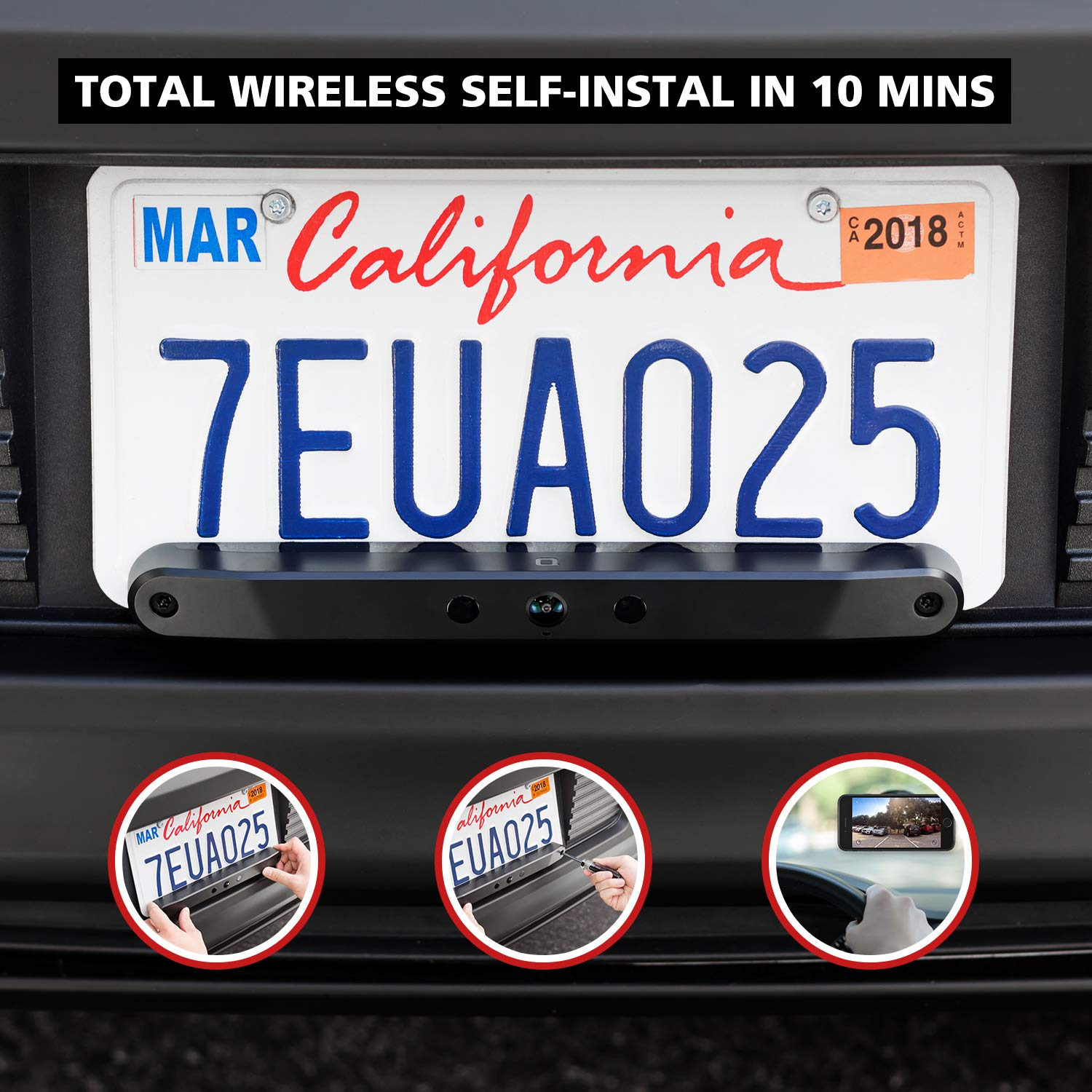 Real Wireless Rear View Camera with 170 Degrees Wide Angle and Rechargeable Battery IP67 Waterproof Easy Installation with No Wiring or Drilling Needed ZURCBKUAL-A nonda ZUS Smart Backup Camera