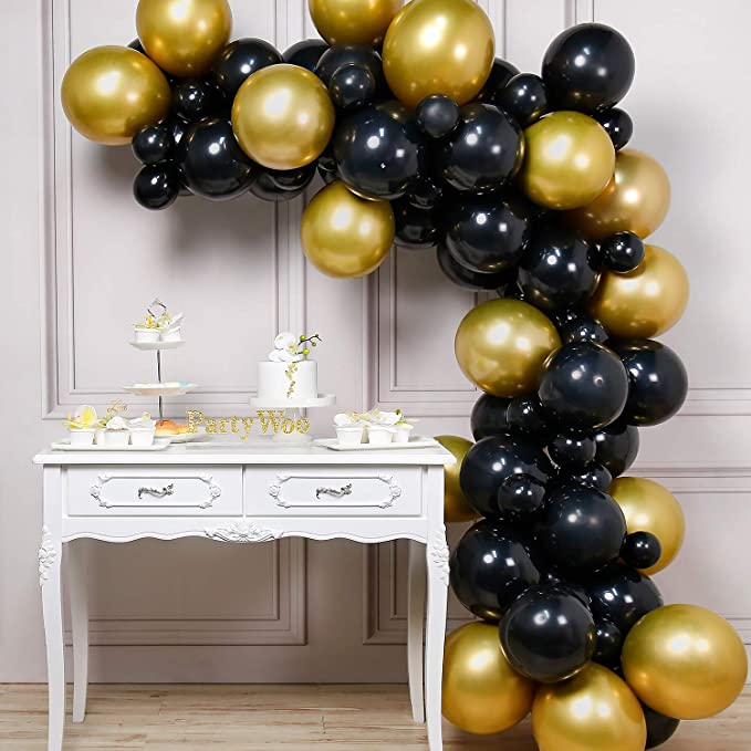 Partywoo Luftballons Schwarz Gold 60 Stück Schwarz Luftballons Und Luftballons Metallic Gold Gold Schwarz Luftballons Ballons Schwarz Gold Für Deko Hollywood Party 1970 Party Gatsby Party Spielzeug