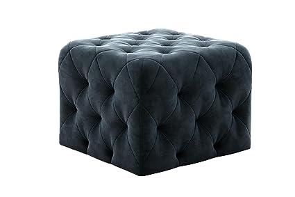 Amazing Novogratz Vintage Tufted Upholstery Design Square Ottoman Blue Velvet Pabps2019 Chair Design Images Pabps2019Com