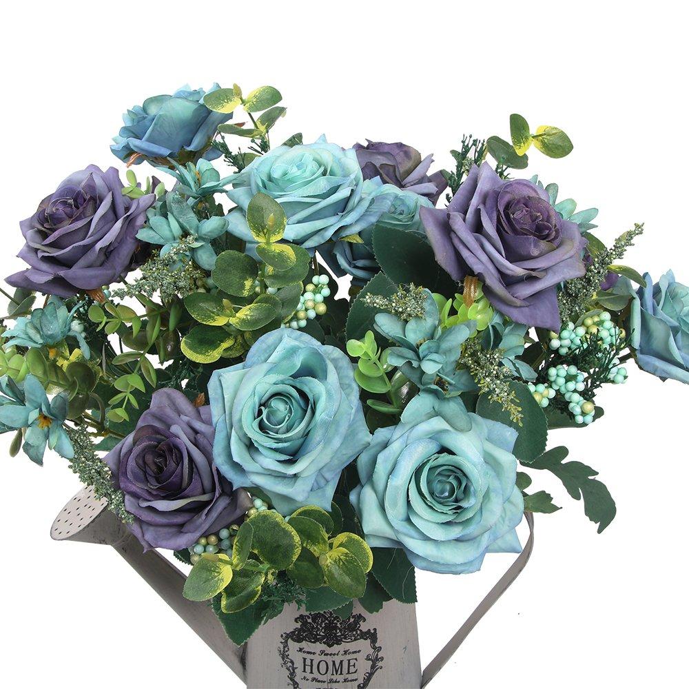 造花 ヨーロピアンローズ シルクローズ デコレーション 結婚式 セット ブルー B01N6C56JY B01N6C56JY ブルー ブルー