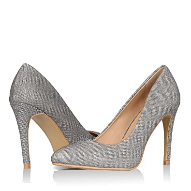 Yeviavy Women s High Heels Pumps Dress Pointed Toe Stiletto Fashion Classic  Shoes Milla Pewter Glitter 6 bbe168636f3