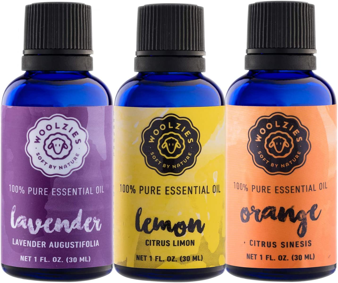 Woolzies Essential Oils Gift Set: Lavender, Lemon and Sweet Orange Kit | 100% Pure, Organic, Therapeutic Grade, Aromatherapy Essential Oils for Diffuser | Set of 3-1 oz Oils