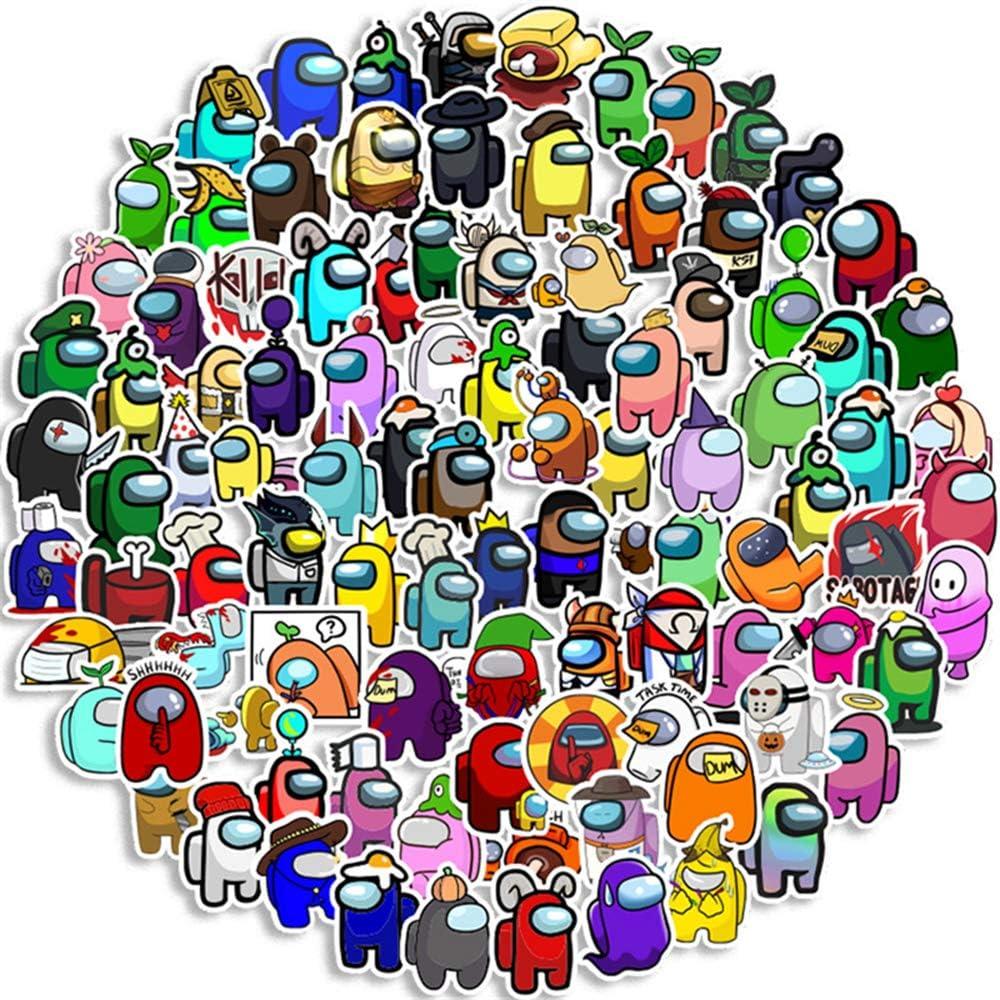 100Pcs AM0NG Us Sticker, Laptops,Hydro Flasks,Water Bottles,Phone,Computers Guitar,Cartoon,Door,Table,Shoe,ect