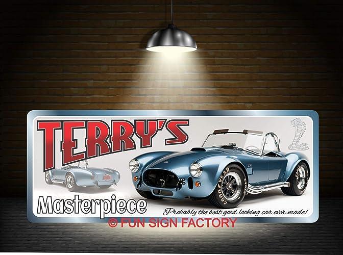 AC COBRA PARKING METAL SIGN RUSTIC VINTAGE STYLE 6x8in 20x15cm garage workshop