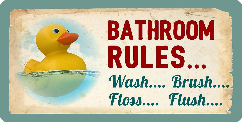 "StickerPirate 605HS Rubber Duck Ducky Bathroom Rules Wash Brush Floss Flush 5""x10"" Aluminum Hanging Novelty Sign"