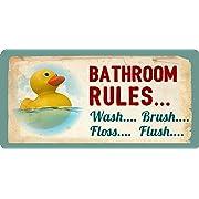 StickerPirate 605HS Rubber Duck Ducky Bathroom Rules Wash Brush Floss Flush 5 x10  Aluminum Hanging Novelty Sign
