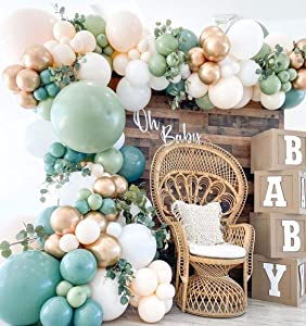 146 Pieces Sage Green Gold Ivory White Balloon Garland Arch Kit, Sage Olive Green Ivory White Gold Balloons Decor Jungle Safari Tropical Baby Shower Birthday Theme Party Decorations Supplies for Boys