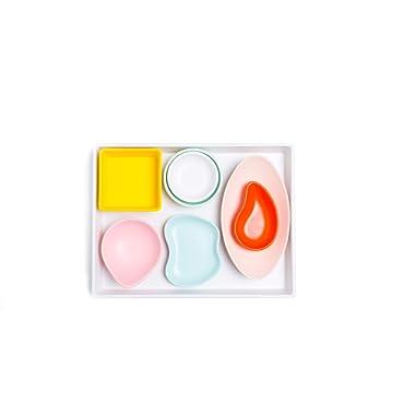 Sugar & Cloth White Melamine Tray and Multicolor Condiment Cups Set, 8 Pieces