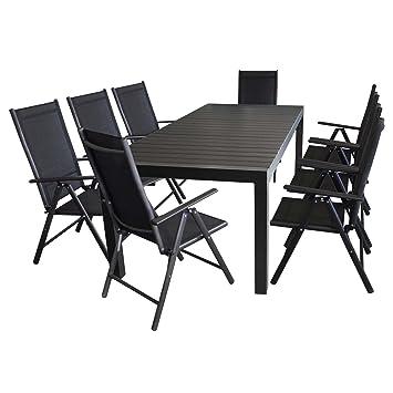 9tlg. Gartenmöbel Set - Aluminium / Polywood Ausziehtisch 224/284/344x100cm, für bis 12 Personen + 8x Hochlehner mit hochwertiger 2x2 ...
