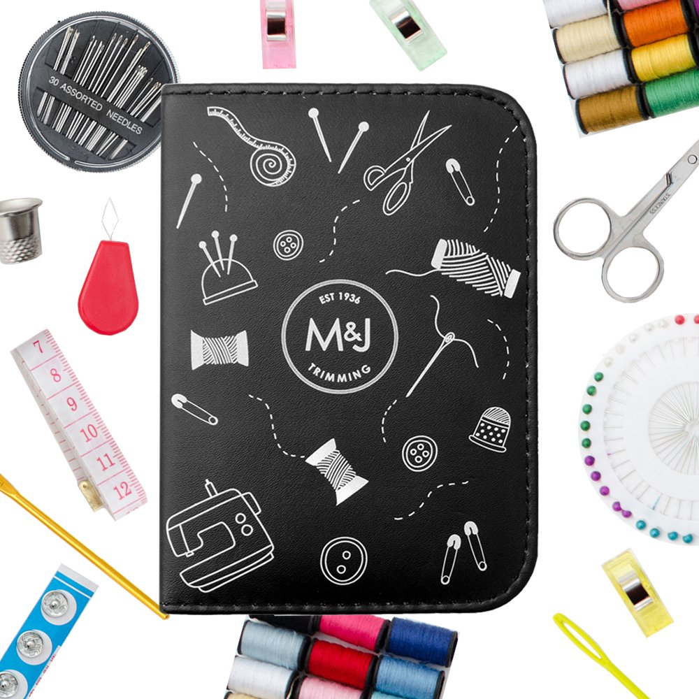 M&J Compact Sewing KIT, Lots of Premium Sewing Supplies, Mini Sewing Kits - Includes: Thread, Sewing Pins, etc. Great for Adults, Kids, Travel, Beginners, Professional, Emergency M&J Trimming 65714001