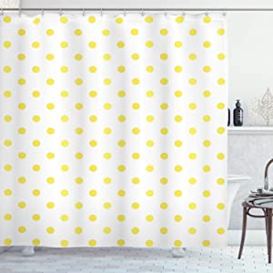"""Ambesonne Polka Dots Shower Curtain, Retro Small Yellow Polka Dots on Plain Background Equally Sized Circle Pattern, Cloth Fabric Bathroom Decor Set with Hooks, 75"""" Long, White Yellow"""