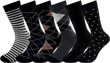 Tacobear 6 Pares Calcetines Hombres Divertidos Calcetines algodón Calcetines Rayas Calcetines Estampados Calcetines Negro Calcetines Colorido para Hombres (modelo 4): Amazon.es: Ropa y accesorios