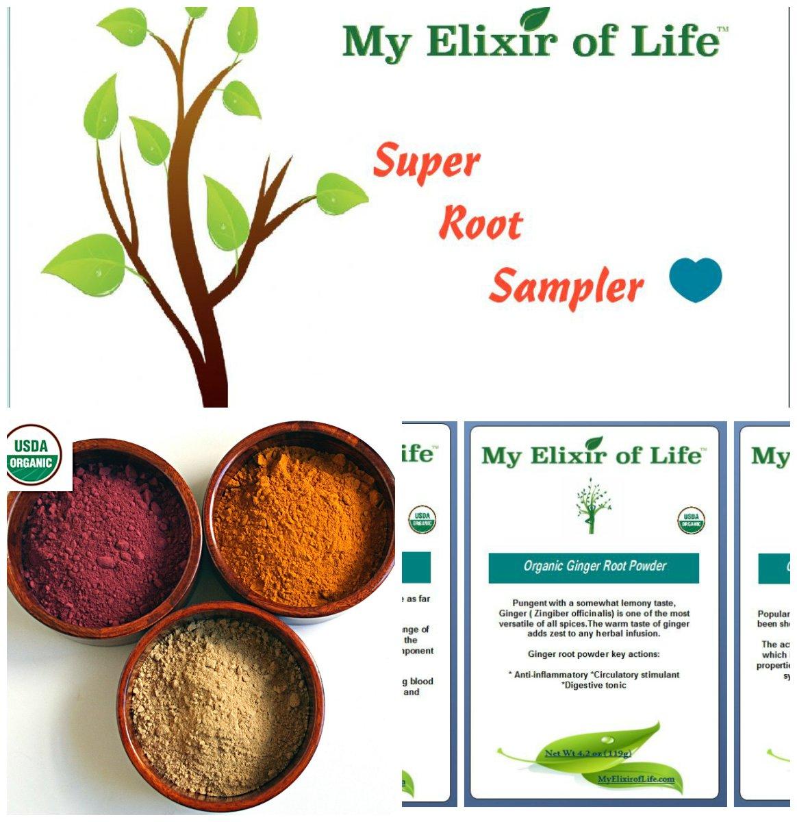 Organic Super Root Sampler-Beet Root, Ginger Root & Turmeric Root Powder by My Elixir of Life