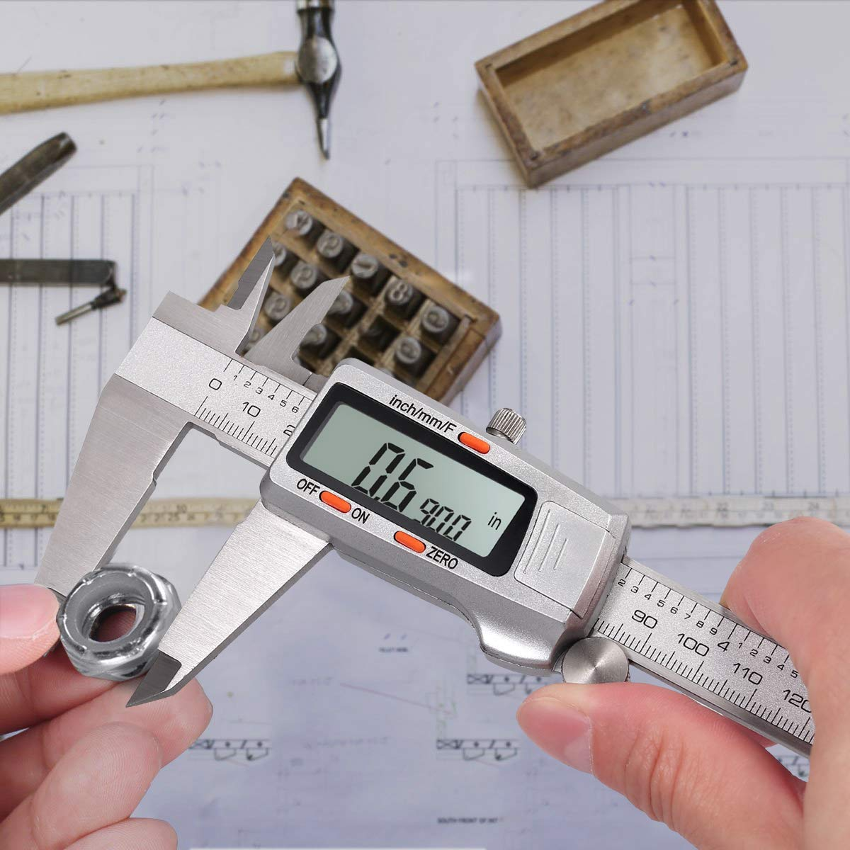 8 Calibro a Corsoio Micrometro LCD Autospegnimento Test Lunghezza Larghezza Profondit/à Diametro Interno Esterno ESYNiC 200mm Calibro Digitale Frazione//Pollice//Metrico in Acciaio Inox Argento