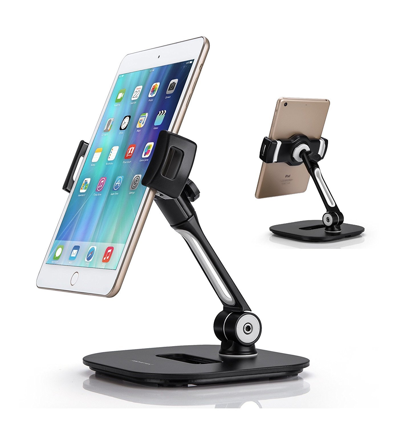 "AboveTEK Stylish Aluminum Tablet Stand, Cell Phone Stand, Folding 360° Swivel iPad iPhone Desk Mount Holder fits 4-11"" Tablets/Smartphones for Kitchen Bedside Office Table POS Kiosk Reception Showroom"