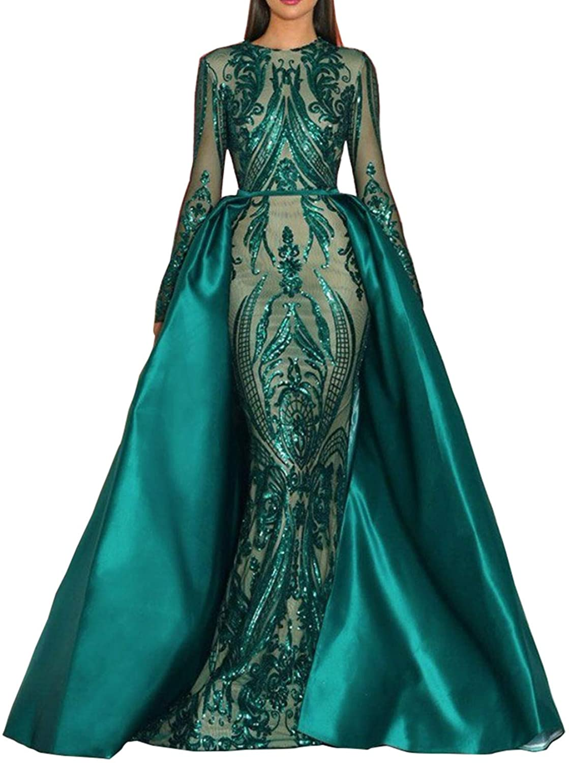 Aries Tuttle Green Sequined Satin Mermaid Prom Evening Party Dress Celebrity Pageant Gown Detachable Train