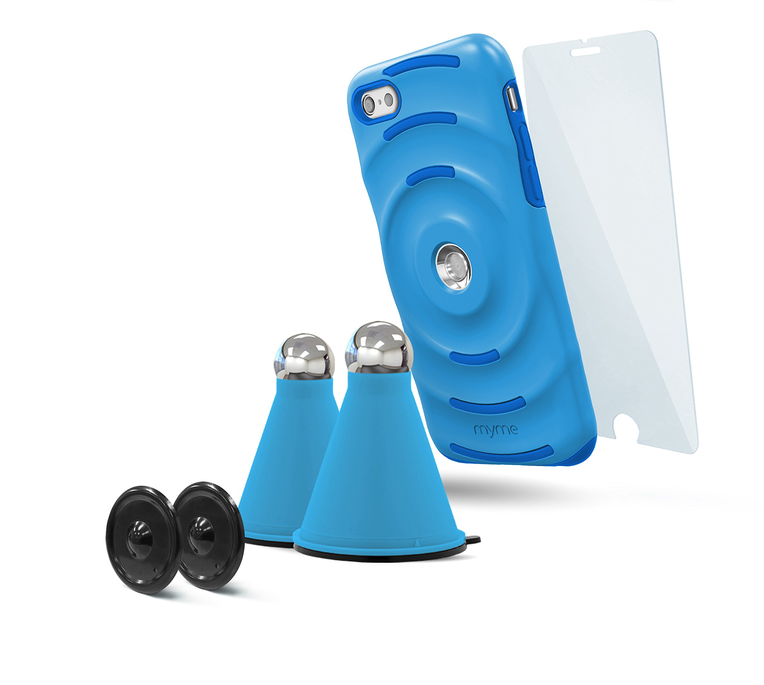 MyMe Unity System Phone Case, Magnetic Cradles and Tempered Glass Bundle, iPhone 7 Plus, Blue