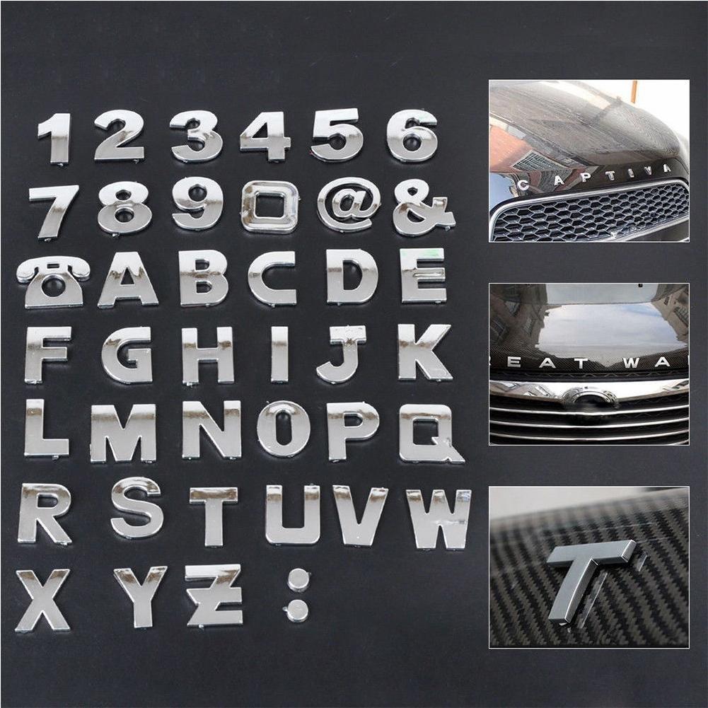 RUNGAO 26Pcs DIY 3D Chrome Etiqueta engomada del Emblema del Coche n/úmero de Letra del s/ímbolo s/ímbolo Insignia calcoman/ía