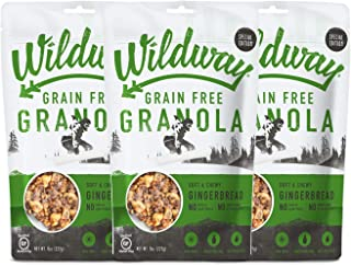 product image for Wildway Vegan Granola | Gingerbread Granola | Certified Gluten-Free, Grain-Free, Paleo, Non-GMO, No Artificial Sweetener, 8oz - 3pk