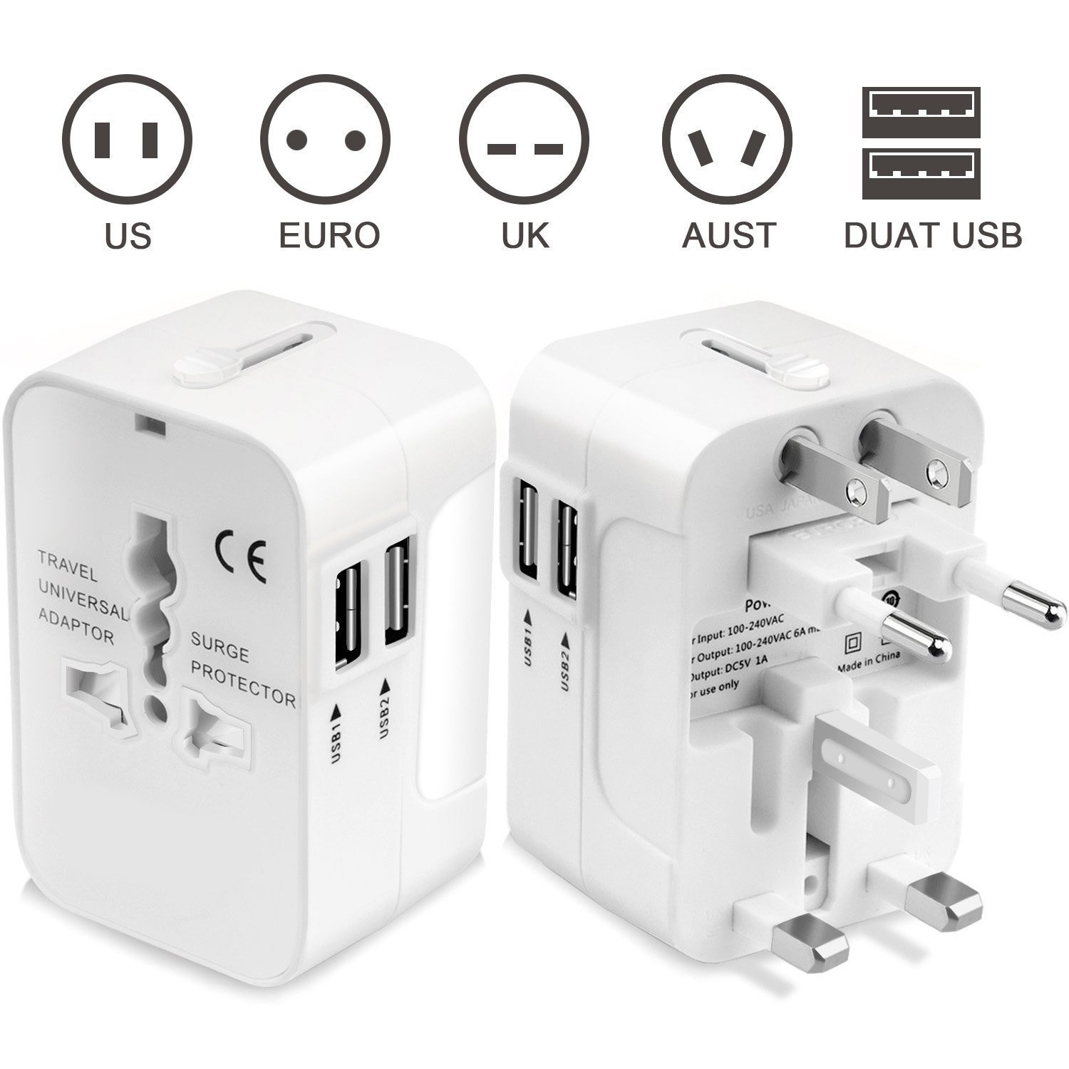 Universal Plug Adapter Worldwide Travel Plug Converter Adaptor All In One Wall Charger With Dual USB Charging Ports 2.1A Works 110 240V for EU UK US AU Plugs-Tempo- White