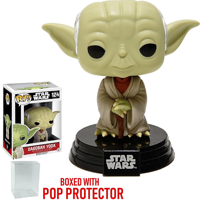 Funko Pop! Star Wars: Dagobah Yoda #124 Vinyl Bobble-Head Figure (Bundled with Pop BOX PROTECTOR CASE)