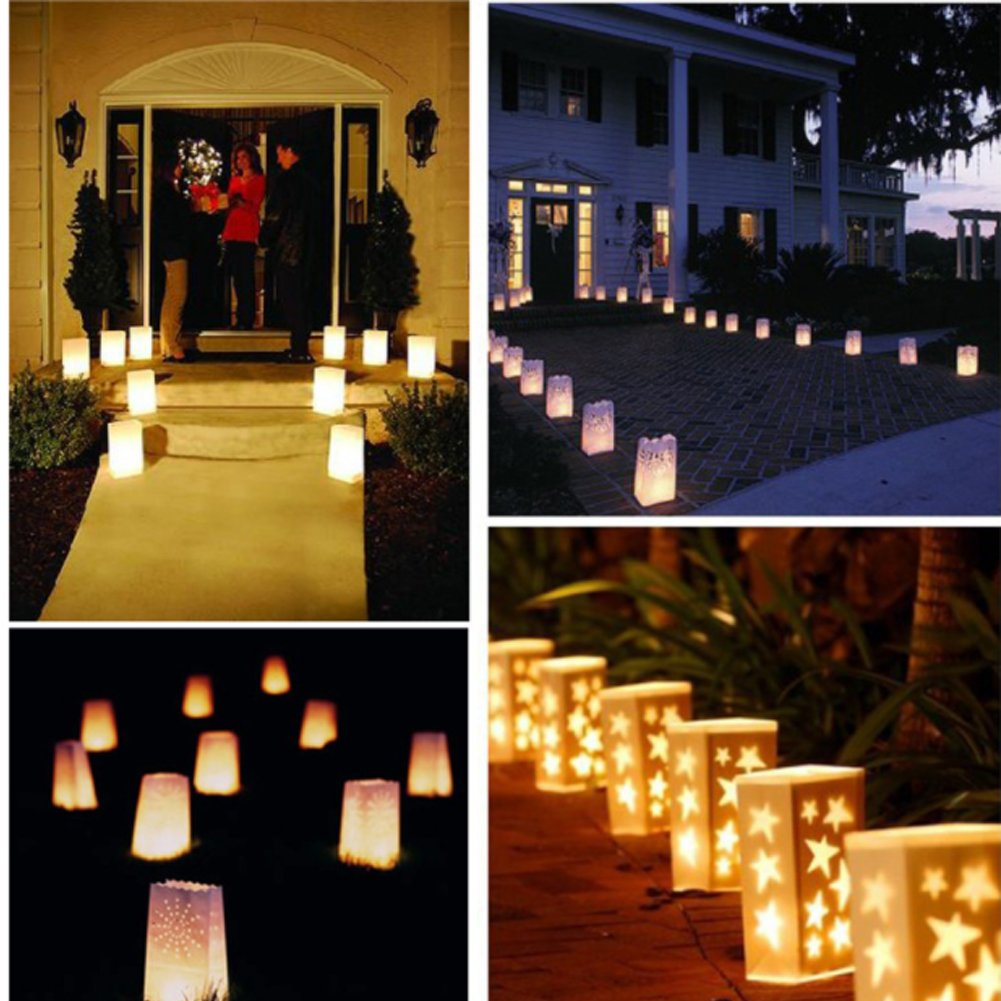 Zaptex 10 Packs&50 Packs Luminary Paper Lantern Candle Tea light Bag with Flame Resistant Paper for Holiday Party From (50 packs, Sun)