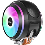 upHere CCF150CF High Performance CPU Air Cooler with 4 Direct Contact Heat Pipes,Dual 120mm PWM Fan and Rainbow LED for Intel/AMD CPUs (AM4 Compatible)