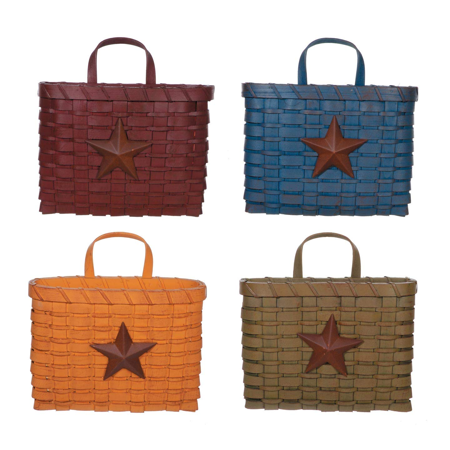 Bulk Buy: Darice DIY Crafts Chipwood Basket with Star 4 Assorted Styles 10 inches (12-Pack) 6562-94