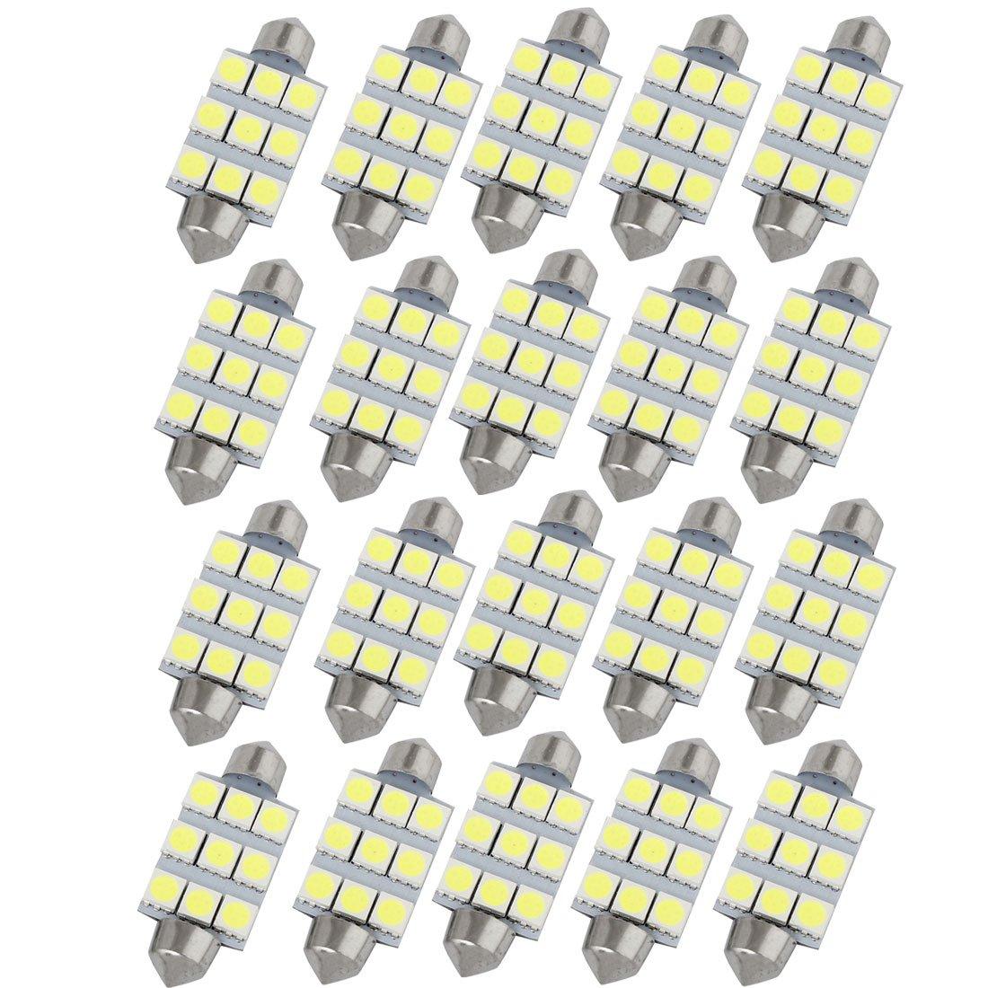 2 White LED Bulbs 41mm Festoon 9-SMD 5050 Dome Map Trunk Light