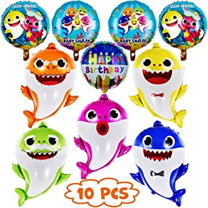 "GRAME Shark Party Supplies for Baby, 26"" Helium Baby Shark Party Balloons with 5 Pcs 17"" Round Balloons, Birthday Decorations, Baby Shower Party Supplies (10 pcs)"