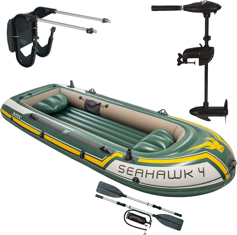 Intex Seahawk 4 Schlauchboot Mit Aussenbordmotor Heckspiegel Paddel Pumpe Set Für 4 Personen Komplettset Amazon De Sport Freizeit