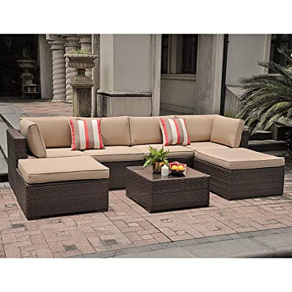 Marvelous Sunsitt 7 Piece Outdoor Sectional Patio Rattan Furniture Set Brown Wicker Conversation Sofa Set With Ottoman Coffee Table Beige Cushions Machost Co Dining Chair Design Ideas Machostcouk