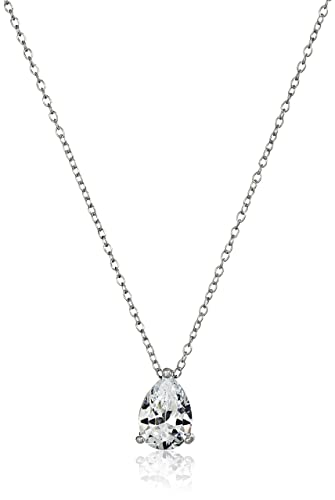 Amazon platinum plated sterling silver teardrop cubic platinum plated sterling silver teardrop cubic zirconia pendant necklace 18quot aloadofball Image collections