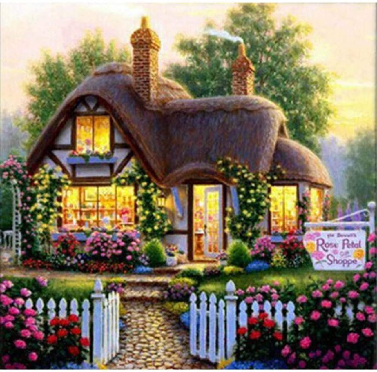 Kaliosy 5D Diamond Painting Country View Garden Cottage by Number Kits Paint with Diamonds Art, DIY Crystal Craft Full Drill Cross Stitch Decoration 14X14inch (X27500)