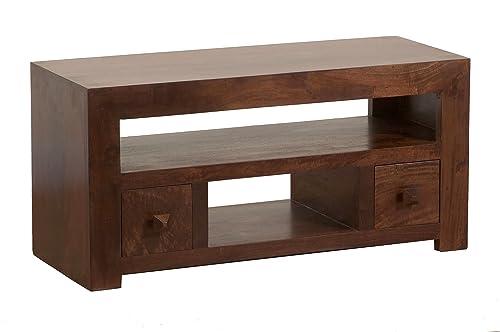 Homescapes Dakota Tv Dvd Corner Unit Living Room Dark Shade Solid Mango Wood Furniture No