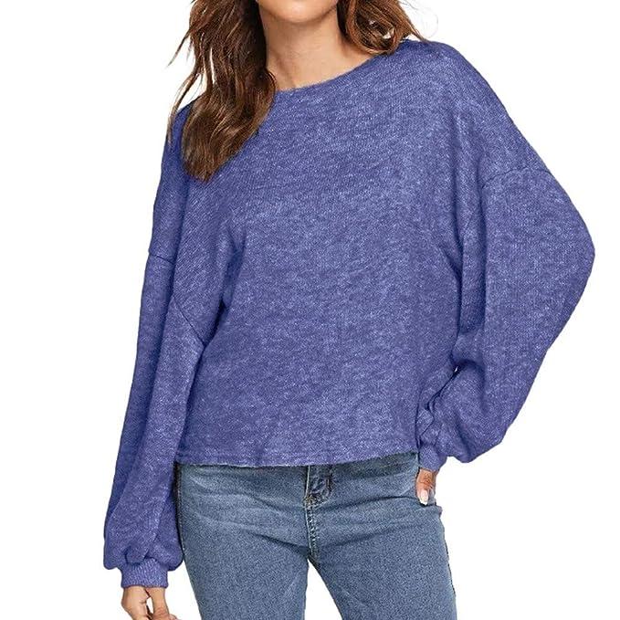Reooly La Sra Color sólido Suelta de Manga Larga suéter de ...