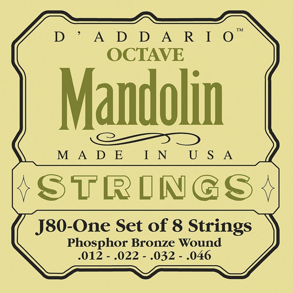 D'Addario J80 Phosphor Bronze Octave Mandolin Strings, Medium, 12-46
