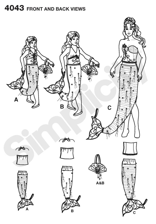 Simplicity 4043 A - Patrones de costura para disfraces de sirena de ...